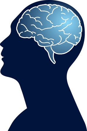 Illustration art of a human brain with isolated background Vector