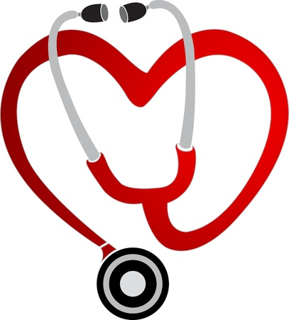 medical drawing: Illustration art of a heart stethoscope with isolated background