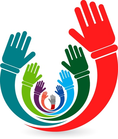 Illustration art of a volunteer hands with white background