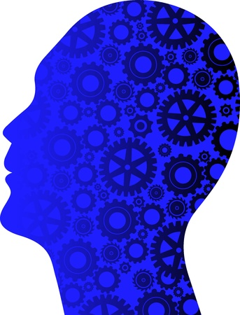 brain power: Illustration art of a gear head with isolated background