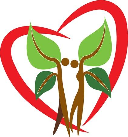 eco slogan: Arte de la ilustraci�n de un �rbol par con forma de coraz�n