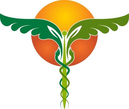 serpiente cobra: Arte de la ilustración de un símbolo médico con fondo blanco Vectores