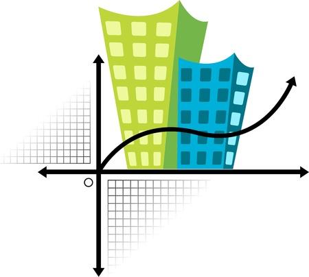 enten: Illustratie kunst van een gebouw logo met geïsoleerde achtergrond Stock Illustratie