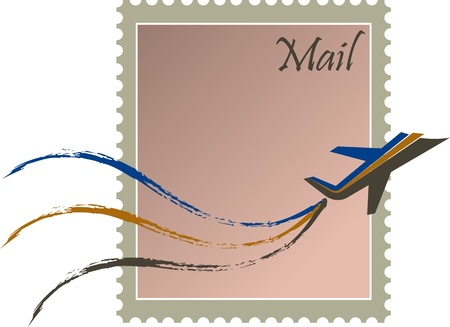outlook: illustration art of fast mail stamp with isolated background