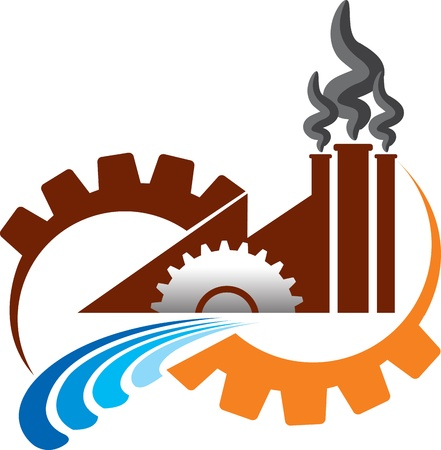 Illustration art of factory shape with isolated background Stock Illustratie