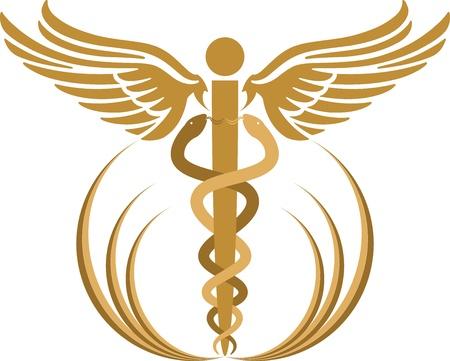 logo medicina: Arte de la ilustración de un caduceo con fondo blanco Vectores