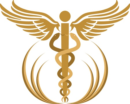 medizin logo: Illustration Kunst eines Heroldstab mit isolierten Hintergrund