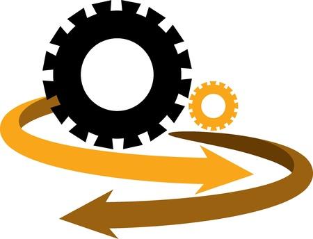 eco slogan: Ilustraci?n de arte de un logotipo de la flecha del engranaje con el fondo aislado Vectores