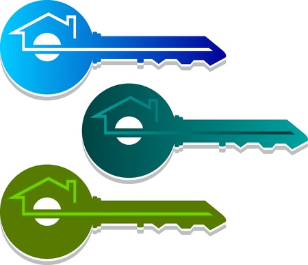home logo: Illustration art of a home key logo with isolated background
