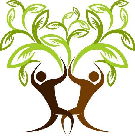 Illustratie art van een paar boom met geïsoleerde achtergrond Stock Illustratie