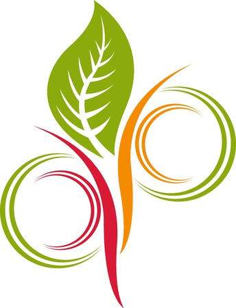 Illustration art of a leaf logo with isolated background