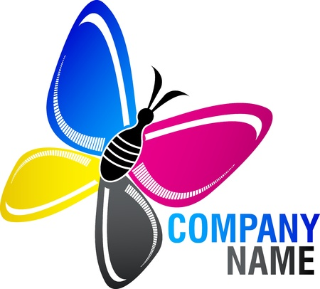 Illustration art of a cmyk butterfly logo with isolated background