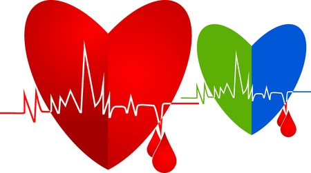 beating: illustration art of heart beating with isolated background