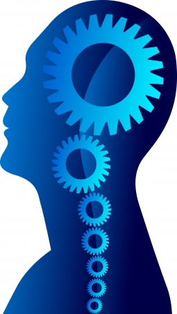 Illustration drawing of a mind gear with white background  Vector