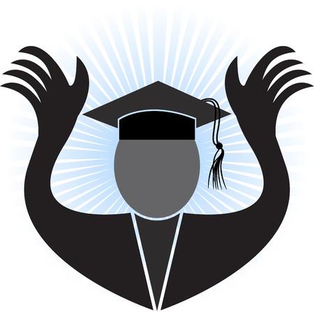 alumnus: Illustration art of a graduation man with blue rays background