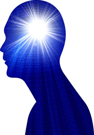 think safety: drawing of a human bright power brain with isolated background Stock Photo
