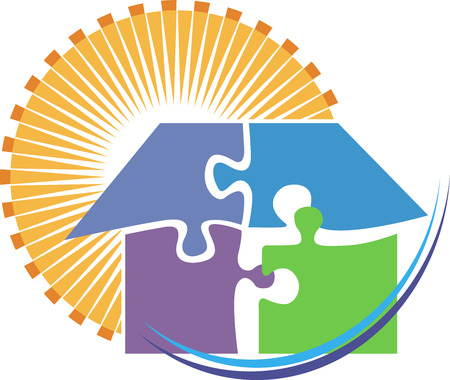 Illustration art of a puzzle home  Vector