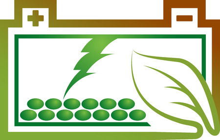 electrolyte: Illustration art of a eco battery with isolated background