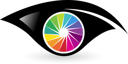 Illustration art of a colorful eye with isolated background
