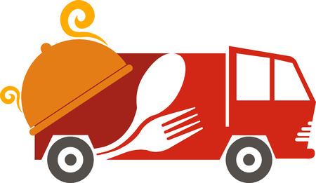 lorries: Arte di illustrazione di un veicolo fast food con sfondo isolato
