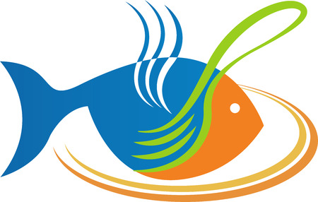 logos restaurantes: Arte de la ilustraci�n de un logotipo comer pescado con fondo blanco
