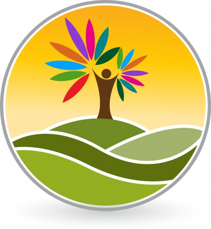 Illustration art of a human tree logo with isolated background  Stock Illustratie