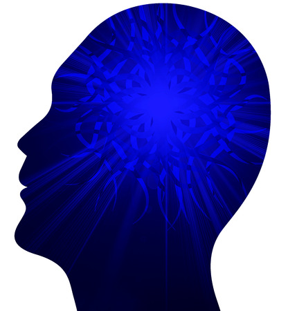 physiology: Illustration art of a human power brain with isolated background Stock Photo