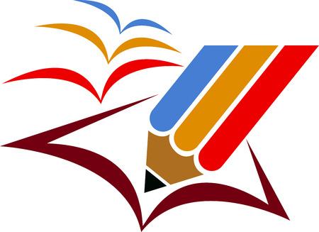 marca libros: Arte de la ilustraci�n de un logotipo de educaci�n la libertad con el fondo aislado Vectores