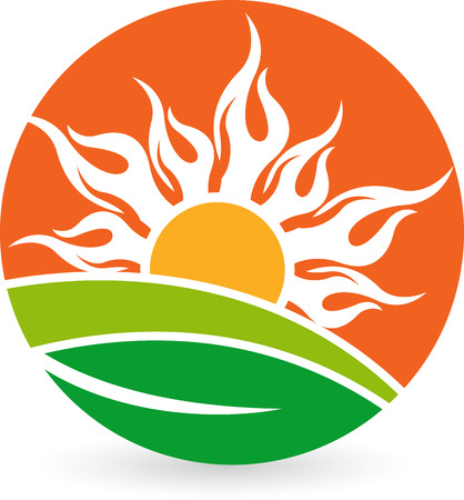 Illustration art of a natural sun logo with isolated background