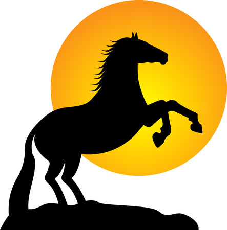 natural forces: Illustration art of a horse silhouette with sun background