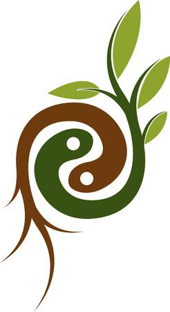 planta con raiz: Arte de la ilustraci�n de un logotipo ra�z de la planta con el fondo aislado