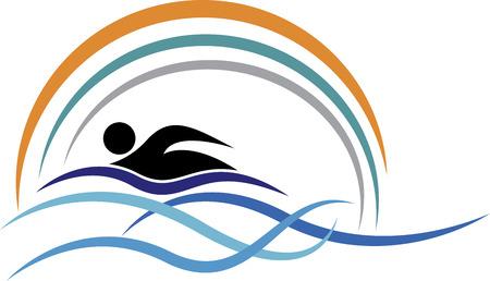 Illustratie kunst van een zwemmen logo met geïsoleerde achtergrond