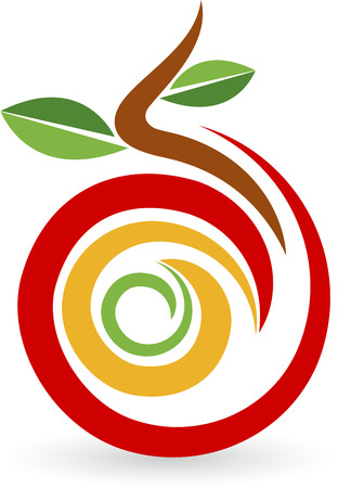 孤立した背景と果物のロゴのイラスト アート