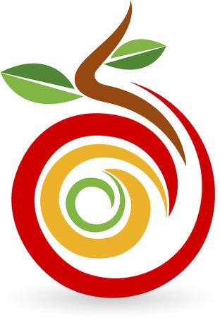 Illustratie kunst van een fruit-logo met geïsoleerde achtergrond