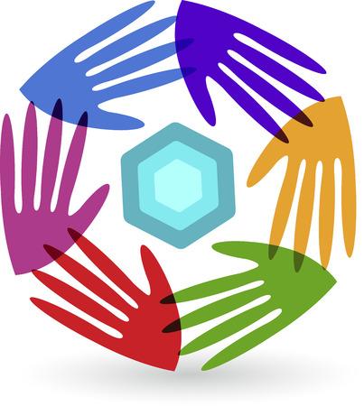 manos logo: Arte de la ilustración de un logotipo manos con fondo aislado