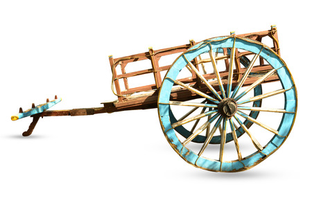 bullock: wooden bullock cart with isolated background