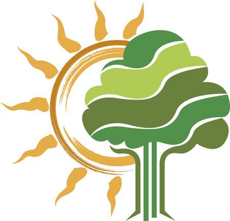 Illustration art of a tree logo with isolated background Illustration