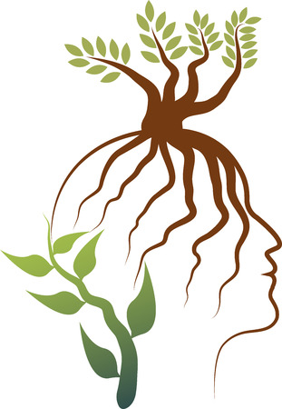Illustration art of a tree with root face logo with isolated background Vector