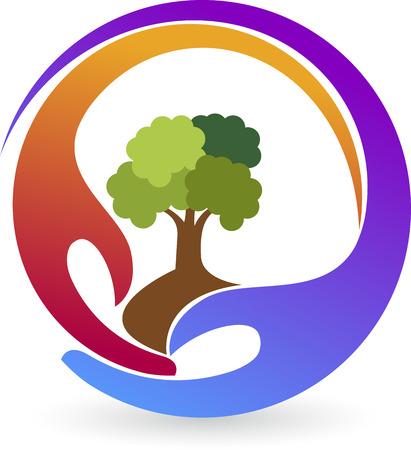 Illustratie kunst van een handen fabriek logo met geïsoleerde achtergrond Stock Illustratie
