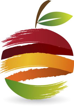 sappen: Illustratie kunst van een fruit-logo met geïsoleerde achtergrond