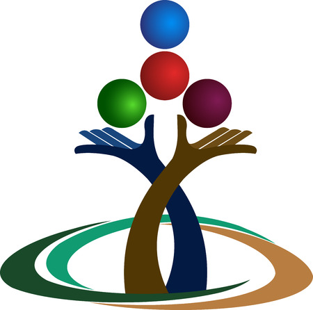 centre: Illustration art of a hands balance logo with isolated background
