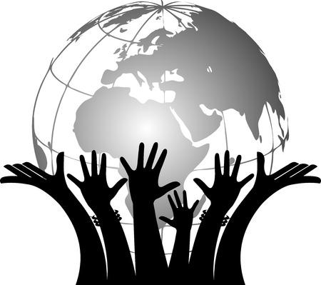 world trade: Arte de la ilustraci�n de un globo de las manos que sostienen con el fondo aislado Vectores