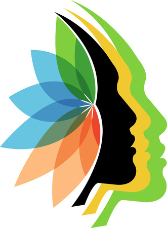 Illustration art of a faces flower logo with isolated background