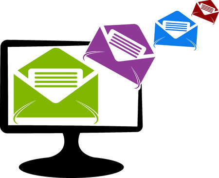 Illustration art of a system send mail logo with isolated background