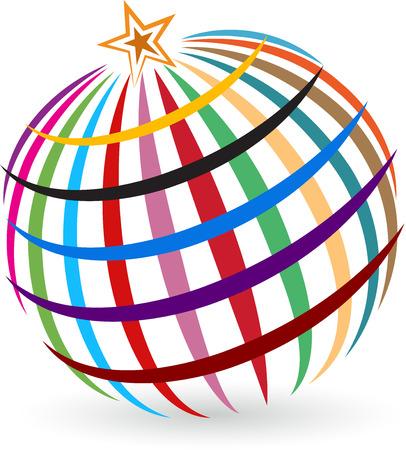 전세계에: 격리 된 배경으로 글로벌 스타 로고의 그림 예술 일러스트