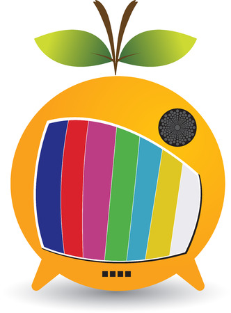 Illustration art of a Fruit TV logo with isolated background Vector