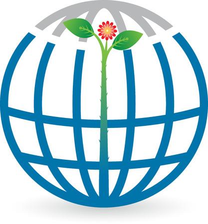 eco slogan: Arte de la ilustraci�n de un logotipo globo de la hoja con el fondo aislado