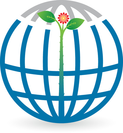 thriving: Illustration art of a globe leaf logo with isolated background