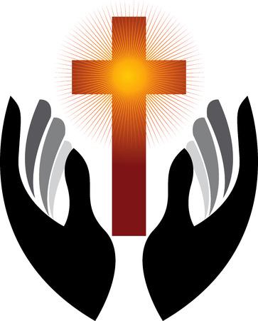 Illustratie kunst van een handen gebed met geïsoleerde achtergrond