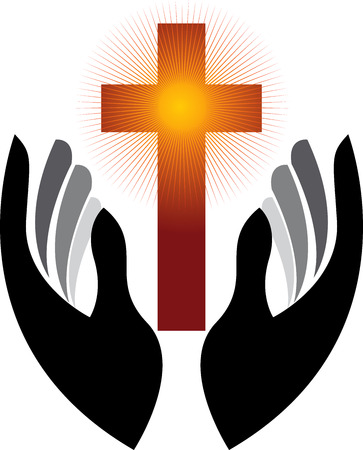 Illustration art of a hands prayer with isolated background Vector